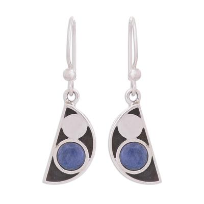 Modern Semicircle Sodalite Dangle Earrings from Peru