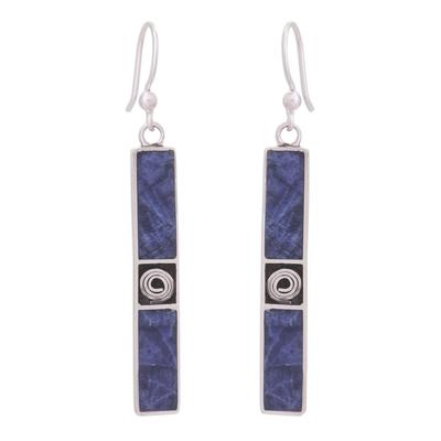 Rectangular Sodalite Dangle Earrings Crafted in Peru