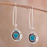 Chrysocolla dangle earrings, 'Hidden Waters' - Circular Chrysocolla Dangle Earrings Crafted in Peru