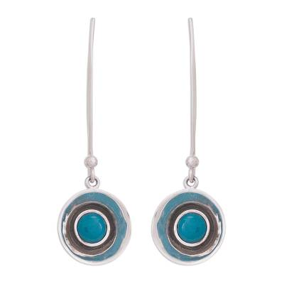 Circular Chrysocolla Dangle Earrings Crafted in Peru