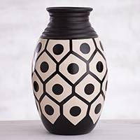 Ceramic decorative vase, 'Chulucanas Geometry' - Geometric Chulucanas Ceramic Decorative Vase from Peru
