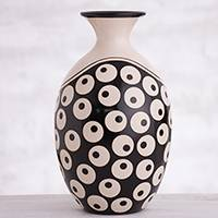 Ceramic decorative vase, 'Chulucanas Mysticism' - Circle Motif Chulucanas Ceramic Decorative Vase from Peru