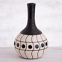 Ceramic decorative vase, 'Chulucanas Waves' - Wave Motif Chulucanas Ceramic Decorative Vase from Peru