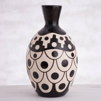 Ceramic decorative vase, 'Desert Stair' - Black and Ivory Chulucanas Ceramic Decorative Vase from Peru