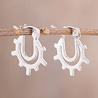 Sterling silver hoop earrings, 'Gleaming Sunrise' - High-Polish Sterling Silver Hoop Earrings Crafted in Peru