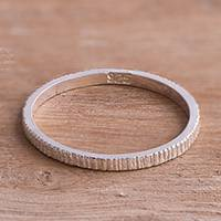 Sterling silver band ring, 'Simple Texture' - Textured Sterling Silver Band Ring from Peru