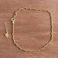 Gold plated sterling silver anklet, 'Moonlit Starfish'