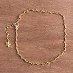 18k Gold Plated Sterling Silver Starfish Anklet from Peru, 'Moonlit Starfish'