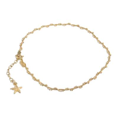 Gold plated sterling silver anklet, 'Moonlit Starfish' - 18k Gold Plated Sterling Silver Starfish Anklet from Peru