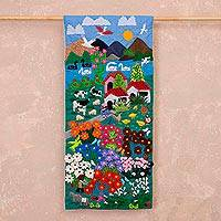 Cotton blend applique wall hanging, 'Spring in the Andes' - Applique Cotton Blend Wall Hanging from Peru