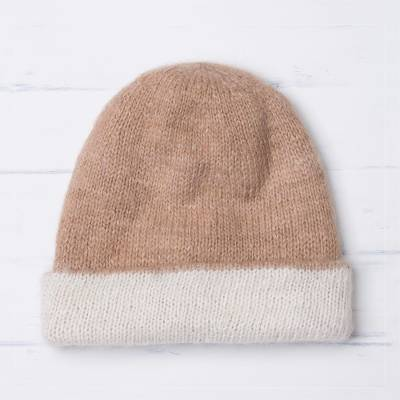 100% alpaca hat, 'Cozy Winter in Tan' - 100% Alpaca Hat in Beige and White from Peru