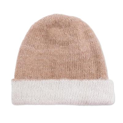 100% Alpaca Hat in Beige and White from Peru