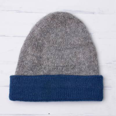 100% alpaca hat, 'Cozy Winter in Azure' - Knit 100% Alpaca Hat in Azure and Grey from Peru