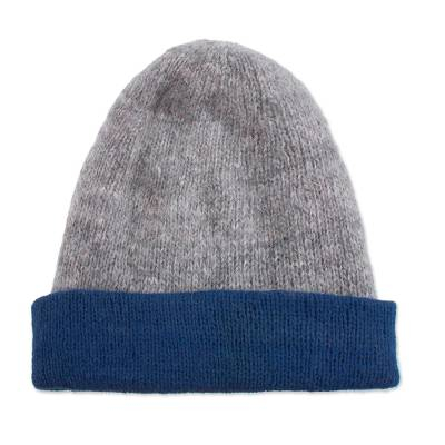 Knit 100% Alpaca Hat in Azure and Grey from Peru