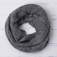 100% alpaca neck warmer, 'Natural Smoke' - Knit 100% Alpaca Neck Warmer in Smoke from Peru