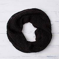 100% alpaca neck warmer, 'Mysterious Dream' - Knit 100% Alpaca Neck Warmer in Black from Peru