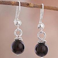 Onyx dangle earrings, 'Onyx Rope' - Rope Motif Onyx Dangle Earrings Crafted in Peru