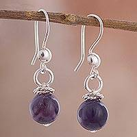 Amethyst dangle earrings, 'Amethyst Rope' - Rope Motif Amethyst Dangle Earrings Crafted in Peru