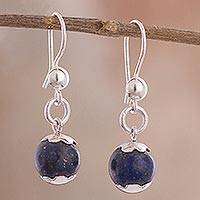 Lapis lazuli dangle earrings, 'Ocean Blossom' - Floral Lapis Lazuli Dangle Earrings Crafted in Peru