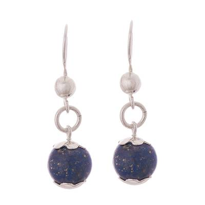 Floral Lapis Lazuli Dangle Earrings Crafted in Peru