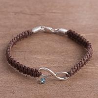 Silver pendant bracelet, 'Infinity Gleam' - Infinity Motif Silver Pendant Bracelet Crafted in Peru
