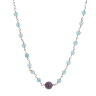 Amethyst and Aquamarine Beaded Pendant Necklace from Peru