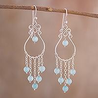 Aquamarine chandelier earrings,