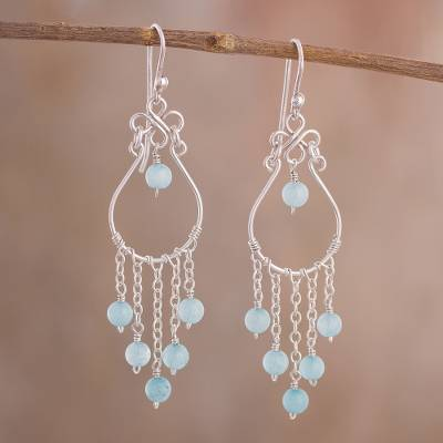 Aquamarine Chandelier Earrings Healing Rain Crafted In Peru