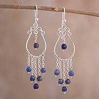 Sodalite chandelier earrings, 'Healing Rain' - Lapis Lazuli Chandelier Earrings Crafted in Peru
