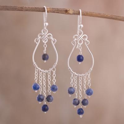 728b5c84c23dc Lapis Lazuli Chandelier Earrings Crafted in Peru, 'Healing Rain'