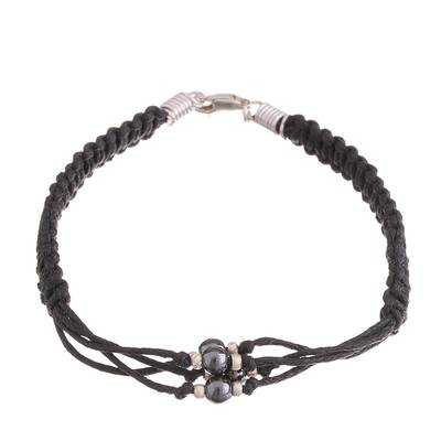 Hand-Braided Cotton and Hematite Bracelet from Peru