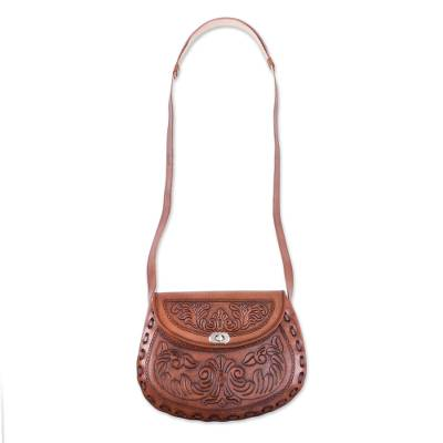 Floral Embossed Leather Sling Handcrafted in Peru