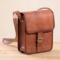 Leather sling, 'Free Adventurer' (8.5 in.) - Solid Brown Leather Sling (8.5 in.) from Peru