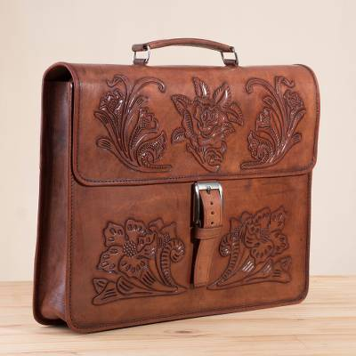 Leather handbag, 'Floral Executive' - Handcrafted Floral Leather Handbag from Peru