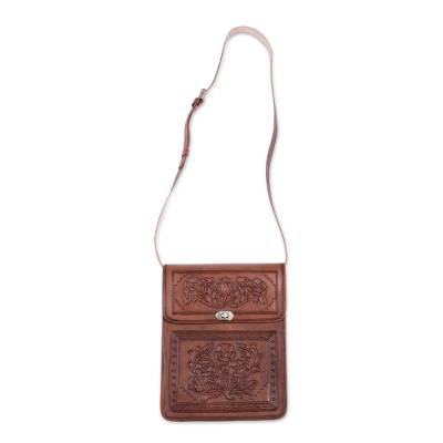 Floral Motif Embossed Leather Sling from Peru