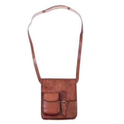 Handcrafted Leather Messenger Bag from Peru