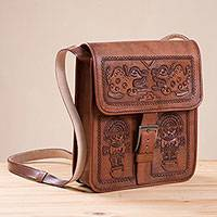 Leather sling, 'Inca Mythology' - Tumi Motif Embossed Leather Sling from Peru