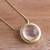 Gold plated quartz pendant necklace, 'Golden Circle' - 18k Gold Plated Quartz Pendant Necklace from Peru (image 2b) thumbail