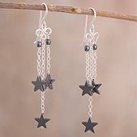 Hematite dangle earrings, 'Grey Stars' - Star-Shaped Hematite Dangle Earrings from Peru