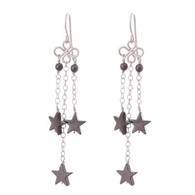Star-Shaped Hematite Dangle Earrings from Peru