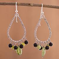 Multi-gemstone chandelier earrings, 'Sweet Sigh' - Multi-Gemstone Chandelier Earrings from Peru