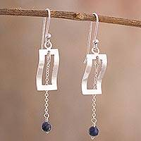 Sodalite dangle earrings, 'Frame Waves' - Modern Sodalite Dangle Earrings Crafted in Peru