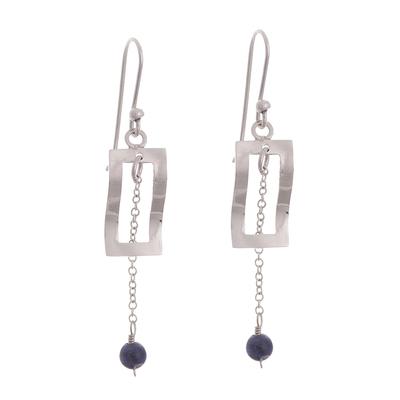 Modern Sodalite Dangle Earrings Crafted in Peru