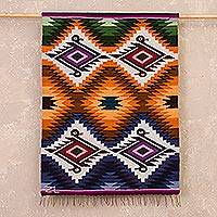 Wool tapestry, 'Natural Effect' - Handwoven Colorful Wool Tapestry from Peru