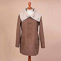 100% baby alpaca reversible coat, 'Feminine Style' - 100% Baby Alpaca Reversible Coat in Taupe and Ivory