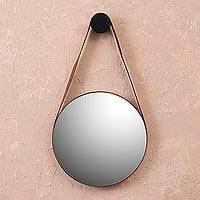 Leather wall mirror, 'Shining Image' - Round Leather Wall Mirror from Peru