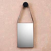 Leather wall mirror, 'Brilliant Image' - Rectangular Leather Wall Mirror from Peru