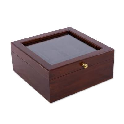 Wood watch box, 'Style and Elegance' - Pinewood Watch Box with a Glass Display Pane from Peru