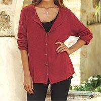 Pima cotton cardigan, 'Warm Grace in Crimson' - Crocheted Pima Cotton Cardigan in Crimson from Peru