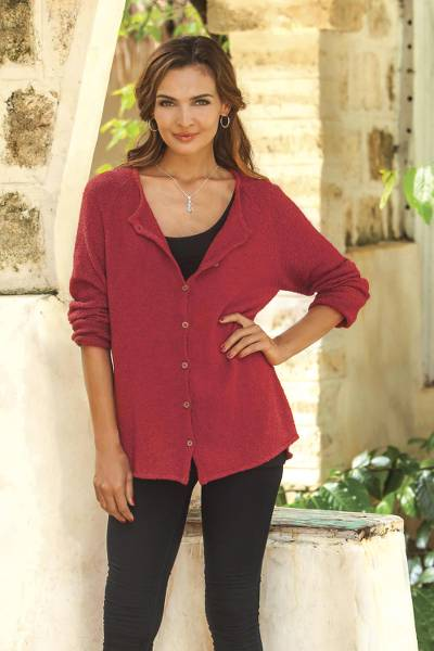 Pima cotton cardigan, 'Everyday in Crimson' - Knit Pima Cotton Cardigan in Crimson from Peru